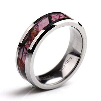 6mm Deer Antlers Pink Camouflage Titanium Wedding Rings Comfort Fit | FREE ENGRAVING