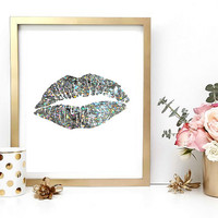 Holographic Lips Print, Digital Wall Art, Home Decor, Wall Decor, Printable Art, Kiss Print, Sparkly, Instant Download, Digital Download