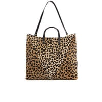 CLARE V. WOMEN'S SIMPLE V TOTE BAG - LEOPARD