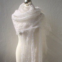 Purity wedding shawl,hand knitted kidsilk lace stole,white shawl MADE TO ORDER