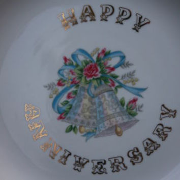 Lefton China ~Happy Anniversary~ Hand Painted Decorative Plate Vintage