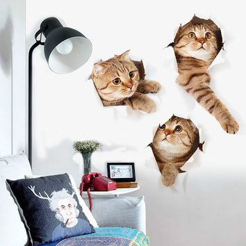 Cats 3D Wall Sticker Wall Decoration Posters Mural Decals Vinyl Wall Stickers For Kids Rooms Home Decor Living Room Wallpaper