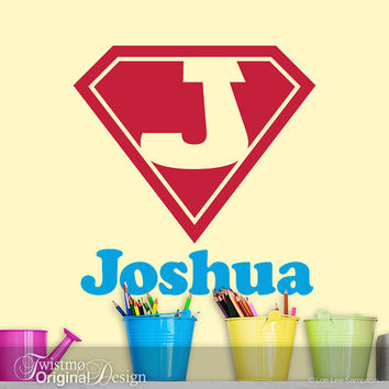 Superhero Shield Monogram Vinyl Wall Decal, Custom Name Wall Art: Comic Book, Super Hero, Baby Nursery, Boys, Teens, Toddler, Joshua