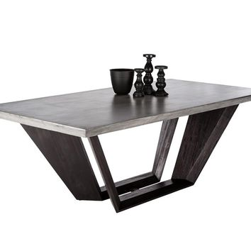 GLANCE GREY CONCRETE TOP WITH ACACIA WOOD BASE DINING TABLE