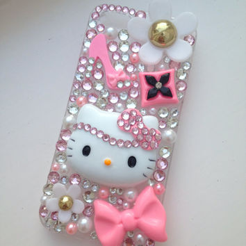 Pink Glam Hello Kitty Sparkly Crystallised Bling iPhone 5 Protective Cell Phone Case Cover