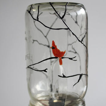 Mason Jar Lamp red bird on tree: Custom painted bird and tree - Mason Jar Light  - painted mason jar light - Table lamp - Desk lamp