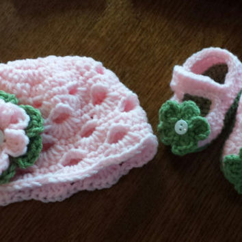 Crochet Double Flower Eggshell Hat and Mary Jane Booties