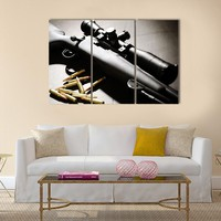 Sniper Rifle With Bullets Multi Panel Canvas Wall Art