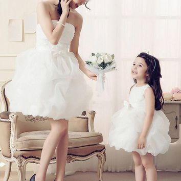 CREYWQA Mom and Daughter Clothes 2016 matching mother daughter dresses party wedding princess girl bow gown dress mom and daughter dress