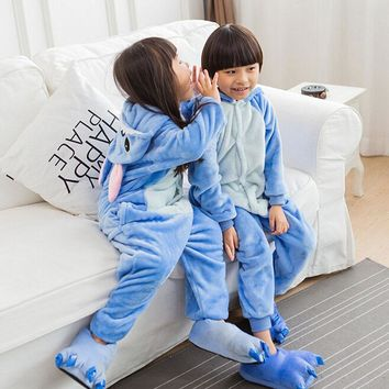 Stitch Pajamas Set Onesuit For Kids Anime Lilo & Stitch Cosplay Costume Blue Flannel Warm Cute Nightwear Little Boy Girl Clothes