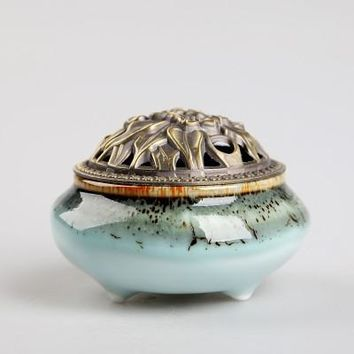 Ceramic Coil Incense Burners Holder with Metal Copper Cover  A
