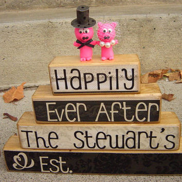 Personalized Wedding stacker decoration with pig by FayesAttic11