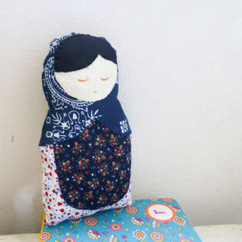 Fabric doll, matryoshka doll, stuffed doll, Russian doll, cotton fabric, ready to ship, nesting doll, handmade, black hair, cute doll