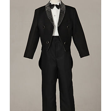 Three Pieces Black Swallow-tail Ring Bearer Suit