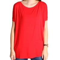 Red Piko Short Sleeve Top