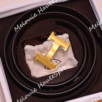 AUTH HERMES MEN'S 80 BLACK BROWN BOX CALF TOGO LEATHER BELT GOLD H BUCKLE SET