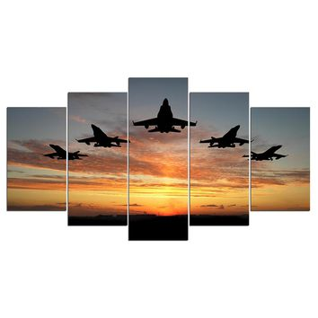 5 Piece Canvas Art Military Jet Airplanes Fly Sunset Canvas Print Wall Picture f
