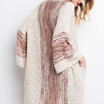 Rosemary's Oatmeal Boho Knit Cardigan
