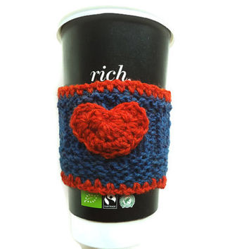 Wool Cup Cozy, Blue Cup Sleeve, Coffee Cozy, Fall, Gift, Reusable Drink Cozy, Coffee Cup Cover, Knit Coffee Sweater, Knit Cup Warmer