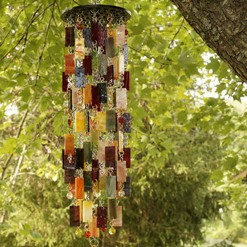 Stained Glass - Colored Glass - Wind Chimes - Sun Catcher - OOAK - Autumn Harvest