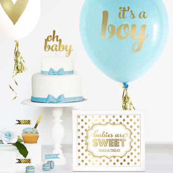 Boy Baby Shower Cake Topper Boy - Gold Baby Shower Cake Topper - Boy Baby Shower Decorations - OH BABY Cake Topper - Baby Shower Favors