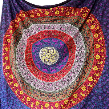 LARGE Floral Hippie mandala tapestry, bohemian hippie wall hanging, hippy boho beach throw queen bedding bedspread, Indian Ethnic Home Decor
