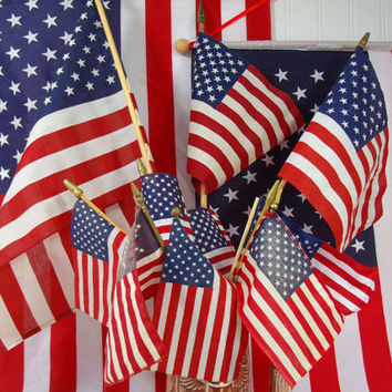 Vintage American Flags on Wooden Poles Collection of 16 Well Used Displayed Naturally Aged Fabric USA Flags Variety of Condition & Sizes