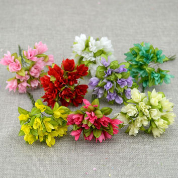 12pcs/lot Artificial flower cherry simulation silk flower diy wreath material Bride wrist flower Wedding flower decoration