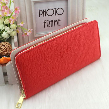 PU Leather Long Women Wallets Fashion Zipper Clutch Lady 6 Colors Embossing Change Purse Mobile Phone Bags Card & ID Holder