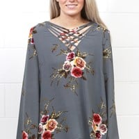 Boho Bells + Floral Strappy Blouse {Charcoal Mix} EXTENDED SIZES