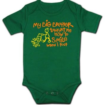 My Brother Taught me to Smile when I poot, Green Long Sleeve, Large-6-12M