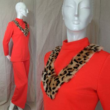 Vintage Lilli Ann Faux leopard pantsuit Bell Bottom Dress Orange Bright Coral 1960s groovy mod Megan Mad Men