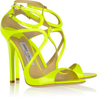 Jimmy Choo | Lance neon patent-leather sandals | NET-A-PORTER.COM