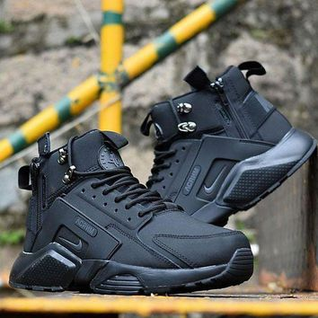 DCCKGV7 Best Online Sale Nike Air Huarache X Acronym City Customise MID Leather Sport Shoes All Black