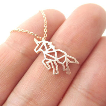 Unicorn Necklace, Origami Necklace, Last unicorn, Girlfriend gift, mystical jewelry