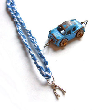 Wishbone Necklace Make a Wish Pendant Denim Blue by SovereignSea