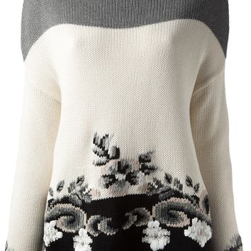 Floral Intarsia Knit Sweater