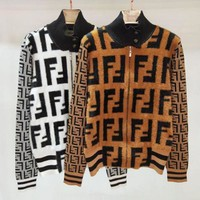 FENDI Classic Women High Collar Zipper Cardigan Jacket Coat
