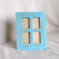 Quadruple Wooden Picture Frame in Distressed Turquoise