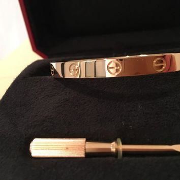 Cartier Love bracelet, 18K pink gold. Sold with a screwdriver sz 17
