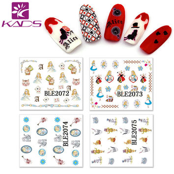 KADD 11sheet SET BLE2072-2082 Alice in Wonderland Cartoon design nail sticker water decals for sticker decal transfer sticker