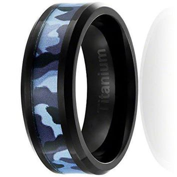 8MM Titanium Camo Ring Black Plated Wedding Band with Blue Military Camouflage Inlay