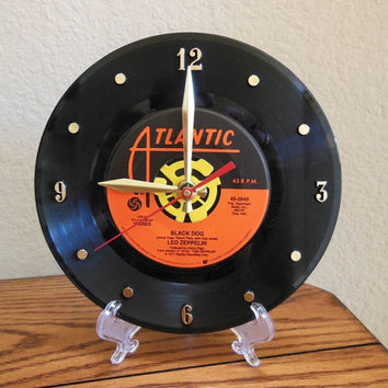 "LED ZEPPELIN 45rpm Record Clock 7"" For Desk or Wall (Black Dog) - Stand Included"