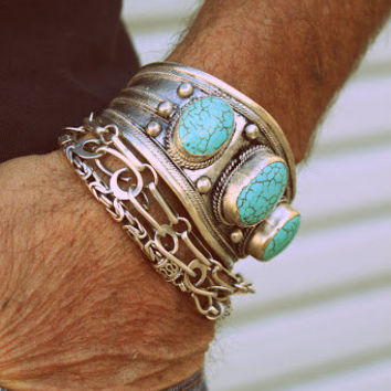 1980s Tibetan Tribal silver and TURQUOISE Mens cuff bracelet/Motorcycle men/Native American/Ethnic/Bohemian/gypsy/Southwestern