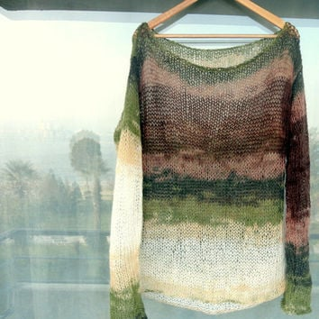 Oversized Blouse Hand Knit Tunic Women Knit Sweater Multicolor Mohair Blouse