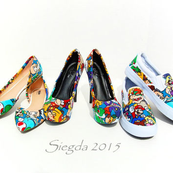 SUPER RARE- Mario Party all 3 Collection- Wedding shoes- Prom shoes- Matching shoes- Super Mario Bros- Homecoming- Geek- Nerd -Geeky -Gamer