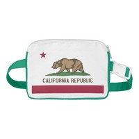 Patriotic Fanny Pack with Flag of California, USA.