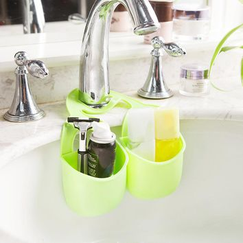 2Pcs Bathroom Kitchen Sink Storage Basket Organizer Hanging Shelf Faucet Teethbrush Soap Brush Holder 2017ing