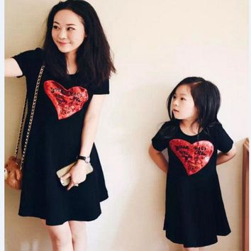 DCCKWQA 2016 Girl Dress Casual Summer Matching Mother Daughter Princess Dresses Lady Cherry Print Cotton Family Clothing Vestidos