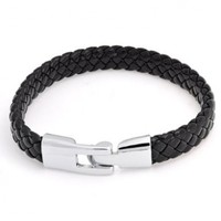 Bling Jewelry Mens Black Braided 10mm Flat Leather Cord Bracelet Silver Plated